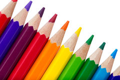 Reihe von den bunten Bleistiften lokalisiert über Weiß Stockbild