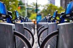 Reihe von den Fahrrädern, zum in der Stadt zu mieten Lizenzfreie Stockfotografie