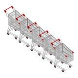 Reihe von Einkaufswagen Viele Einkaufslaufkatze isometrics Lizenzfreies Stockfoto