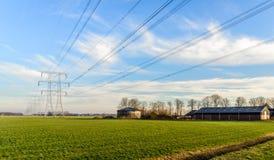 Reihe von Energiemasten in einer niederländischen ländlichen Landschaft Stockfotografie