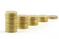 Reihe von eurocents Stockfotos