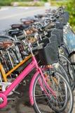 Reihe von Fahrradmieten stockbilder