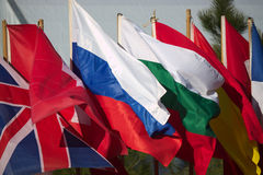 Reihe von Flaggen Lizenzfreie Stockfotos