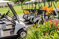 Reihe von Golfmobilen stockfotografie