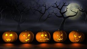 Reihe von Halloween-Kürbisen in einem gespenstischen Wald nachts Stockfotografie