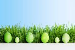 Reihe von Ostereiern im Gras Stockfoto