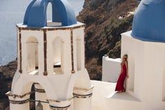 Reihe von Santorini Griechenland Lizenzfreie Stockbilder
