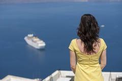 Reihe von Santorini Griechenland Stockfotografie