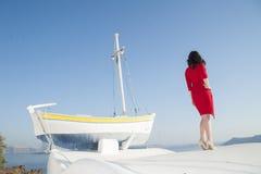 Reihe von Santorini Griechenland Stockfotos