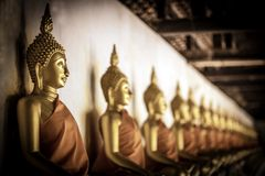 Reihe von sitzenden Zahlen Statuen Buddhas der goldenen Meditation innerhalb des Korridors wird bei Wat Phutthaisawan, Si Ayuttha stockbilder
