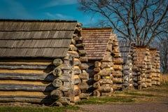 Reihe von Soldat-Kabinen an der Tal-Schmiede Pennsylvania USA Lizenzfreies Stockbild
