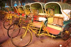 Reihe von trishaw, Macau Stockfotografie