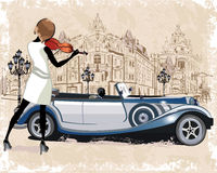 Reihe Weinlesehintergründe verziert mit Retro- Autos, Musikern, alten Stadtansichten und Straßencafés Lizenzfreies Stockbild