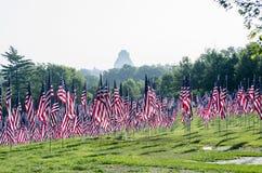 Reihen der amerikanischer Flaggen Lizenzfreie Stockfotografie