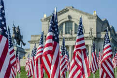 Reihen der amerikanischer Flaggen Stockbilder