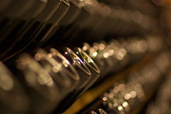 Reihen der Champagnerflaschen Stockfotografie
