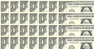 Reihen der ein Dollarscheine Lizenzfreie Stockfotografie