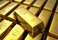 Reihen der Goldstäbe Stockbilder