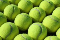 Reihen der Tenniskugeln Stockfoto