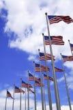 Reihen der US-Markierungsfahnen Lizenzfreie Stockfotografie
