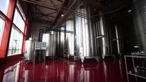 Reihen in der Winemakerfabrik stock footage