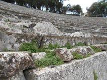 Reihen des alten Theaters, Epidauros, Griechenland lizenzfreies stockfoto