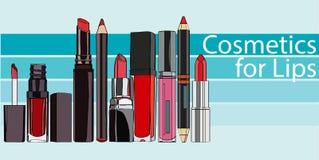 Reihen-Kosmetik für Lippen Stockbild