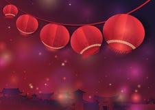 Reihen Sie hängende asiatische Laternen auf der chinesischen alten Stadt auf Lizenzfreies Stockbild