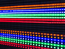 Reihen von belichteten LED-Lichtern Stockfotografie