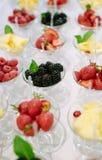 Reihen von Cocktailgläsern mit frischen Sommerfrüchten und -beeren Lizenzfreies Stockbild