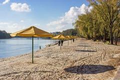 Reihen von gelben Regenschirmen auf dem Strand Stockbilder
