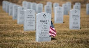 Reihen von Gräbern bei Abraham Lincoln Memorial Cemetery stockfoto