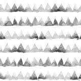 Reihen von Tintenmalereidreiecken auf weißem Hintergrund Nahtloses Muster des Aquarells Lizenzfreie Stockfotografie