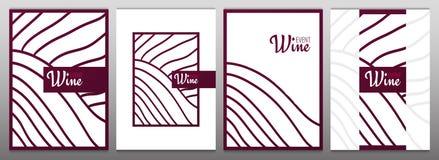 Reihen von Weinbergen Schablonen der Weinfahne Broschüren, Plakate, Einladungskarten, fördernde Fahnen, Menüs, Buch vektor abbildung