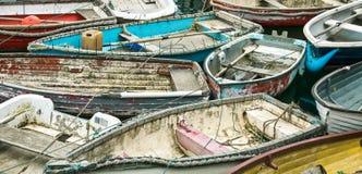 Reihenboote in Mevagissey Stockbild