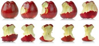 Reihenfolge des gegessenen Apfels Stockfotos