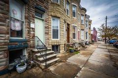 Reihenhäuser in Hampden, Baltimore, Maryland Lizenzfreies Stockfoto