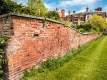 Reihenhaus ummauerter Garten Stockbild