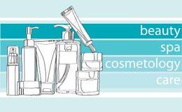 Reihenpflegende kosmetik Stockbilder