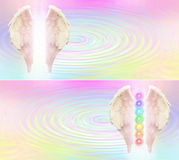 Reiki Angel Wings and Seven Chakras website header. Angel wings and seven chakras on pastel rainbow colored rippling water pool background, with light between Vector Illustration