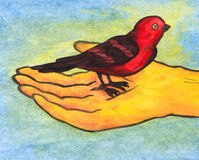 Reiki Bird in Hand (2008). A very symbolic and meaningful illustration of a humans hand holding a red bird while surrounded with light which symbolizes the Royalty Free Stock Photography