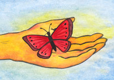Reiki Butterfly in Hand (2008). A very symbolic and meaningful illustration of a humans hand holding a red butterfly while surrounded with light which symbolizes Stock Photos