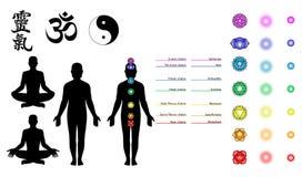 Reiki, chakras, symboles de yoga Photographie stock