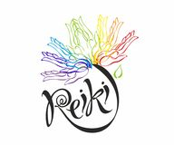 Reiki energy. Logotype. Healing energy. Flower of the rainbow from the palms of man. Alternative medicine. Spiritual stock illustration