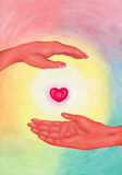 Reiki Hands 4 2016. An abstract illustration of a pink red glowing heart surrounded by an aura of light floating between two hands, a symbol for reiki, the Stock Illustration