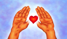 Reiki Hands 2016. An abstract illustration of a red glowing heart surrounded by an aura of light floating between two hands, a symbol for reiki, the universal Royalty Free Stock Photo
