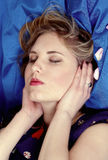 Reiki healing. Reiki energy healing, pretty girl with hands position on ears Stock Images
