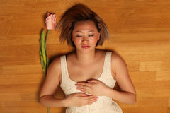 Reiki healing. Reiki self-healing on heart, pretty asian woman stock images
