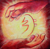 Reiki Healing Symbol and Healers hands Royalty Free Stock Photos