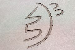 Reiki healing symbol sei he ki on sand. stock photography